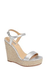 Badgley Mischka Women's Bermuda Espadrille Wedge Silver Leather