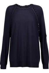 Belstaff Keesley Cable Knit Trimmed Cashmere Wool And Silk Blend Sweater Midnight Blue