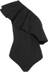 Alix Moore One Shoulder Cotton Blend Poplin And Stretch Jersey Bodysuit Black