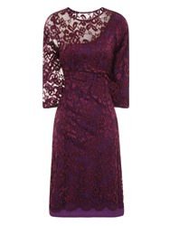 Hotsquash One Sleeved Lace Dress In Clever Fabric Purple