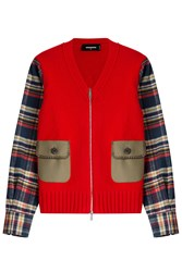 Dsquared2 Cotton And Virgin Wool Cardigan Red