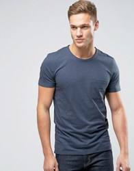 Selected Homme T Shirt In Marl With Pocket Ombre Blue