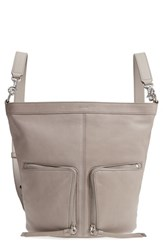 Allsaints Fetch Small Leather Backpack Grey Taupe Grey