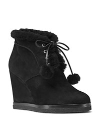 Michael Kors Chadwick Suede And Shearling Wedge Booties Black