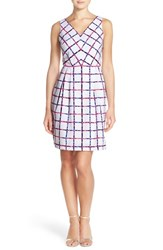 Donna Ricco Women's Donna Rico Print Pleated Stretch Fit And Flare Dress