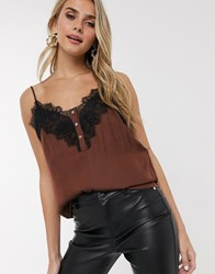 Morgan Contrast Lace Cami Top In Brown