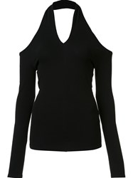 Rosetta Getty Cut Out V Neck Top Black