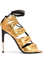 Tom Ford Metallic Eel And Leather Sandals