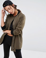 New Look Borg Lined Longline Bomber Dark Khaki Green