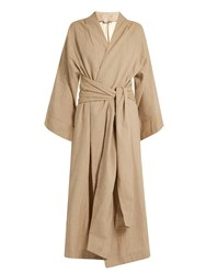 Three Graces London Isabella Striped Cotton Robe Camel