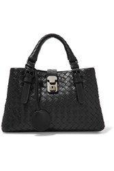 Bottega Veneta Roma Mini Intrecciato Leather Tote Black