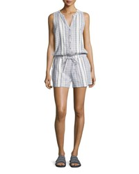 Soft Joie Danijel Sleeveless Striped Cotton Romper White
