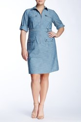 Sharagano Spread Collar Roll Tab Shirt Dress Plus Size Blue