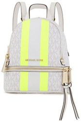 Michael Michael Kors Woman Neon Trimmed Logo Print Faux Textured Leather Backpack White