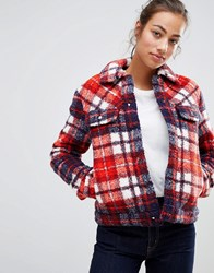 Tommy Hilfiger Chance Thermore Shearling Wool Blend Trucker Jacket Multi Check Red