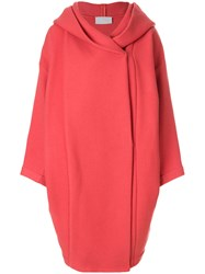 Reality Studio Xiong Hooded Coat Polyamide Acetate Viscose Wool Red