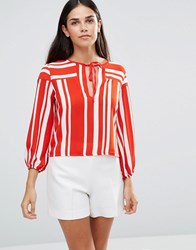 Tfnc Striped Top With Tie Front Red White