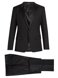 Dolce And Gabbana Peak Lapel Wool Silk Blend Tuxedo Black