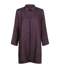 Eileen Fisher Stand Collar Long Jacket Female Purple