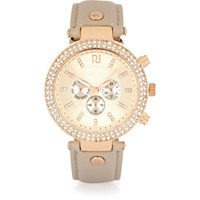 River Island Womens Grey Diamante Embellished Watch