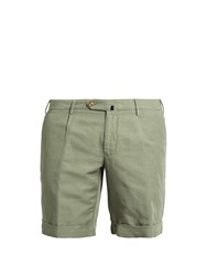 Incotex Slim Leg Linen Blend Shorts Green