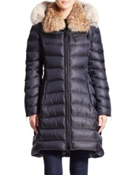 Dawn Levy Bee Fur Trimmed Puffer Coat Abyss