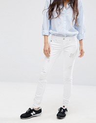 Only Coral Superlow Ripped Skinny Jeans Cre White