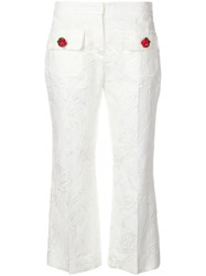 Dolce And Gabbana Embroidered Floral Cropped Trousers White