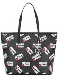 Armani Jeans Logo Print Shopping Bag Women Polyurethane One Size Black