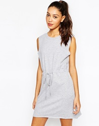 Daisy Street Sweater Dress With Draw String Waist Grey