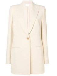 The Row Single Button Straight Blazer Nude And Neutrals