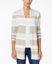 Charter Club Petite Striped Open Front Cardigan Only At Macy's Vintage Cream Combo