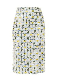 Staud Cabana High Rise Vegetable Print Linen Skirt Ivory Multi