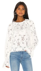 Free People Olivia Lace Tee In White. Ivory