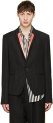 Haider Ackermann Black Striped Lapel Blazer