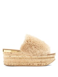 Chloe Camillie Shearling Wedge Slides Nude