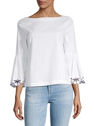Laundry By Shelli Segal Scalloped Embroidered Top Optic White