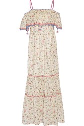 Anjuna Violante Off The Shoulder Printed Cotton Mousseline Maxi Dress White