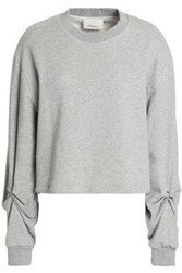 3.1 Phillip Lim Barbell Embellished French Cotton Terry Sweatshirt Light Gray