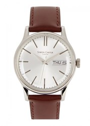 Simon Carter Silver Tone Stainless Steel Watch Brown