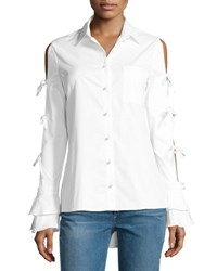 Jonathan Simkhai Pearly Button Tie Sleeve Oxford Shirt White