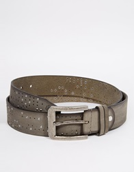 Religion Leather Studded Belt Grey