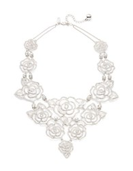Kate Spade Crystal Rose Pave Statement Necklace Silver