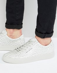Religion Crushed Leather Trainers White