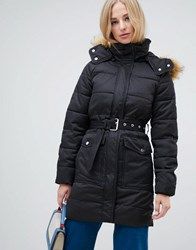 Warehouse Longline Padded Coat With Faux Fur Trim In Black Grey