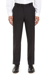 Berle Men's Flat Front Stretch Solid Wool Trousers Charcoal