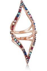 Katie Rowland Parisian 18 Karat Rose Gold Plated Crystal Ring Metallic