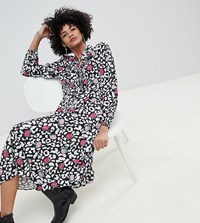 Lily And Lionel Exclusive Rose Leopard Ruffle Midi Dress Rose Leopard Black