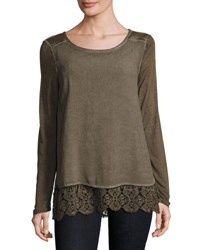 Xcvi Rosalinda Lace Trim Top Brown