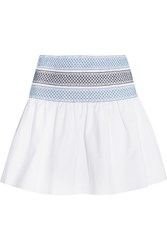 See By Chloe Smocked Cotton Poplin Mini Skirt White